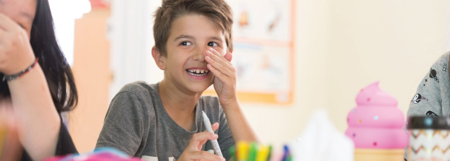 SS Boy Classroom Laughing