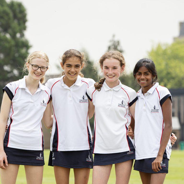4 girls in PE kits