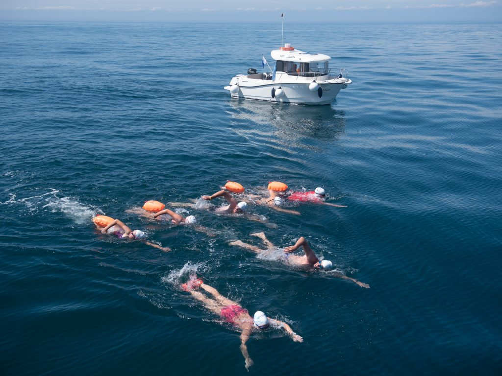 teenagers swimming in the english channel